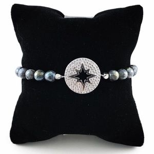 Blue pearls white gold plated cz star bracelet